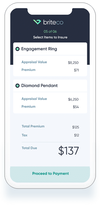 Jewelry insurance appraisal app with engagement ring and diamond pendant insurance quote