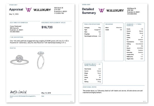 White label appraisal example on engagement ring