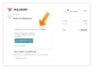 Shopify Integration of BriteCo Jewelry Insurance example
