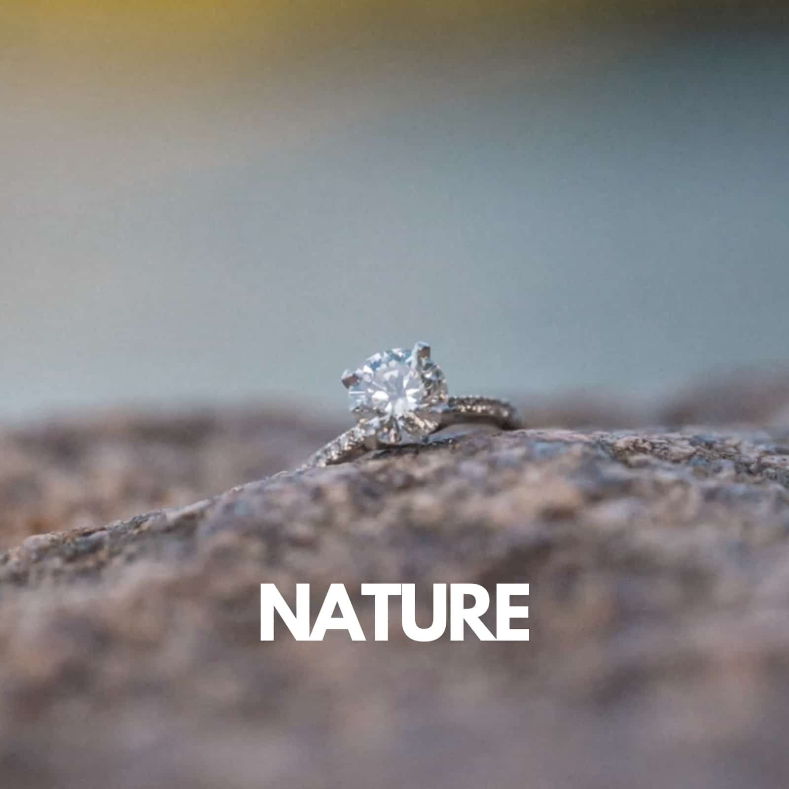 Engagement Ring displayed in Nature
