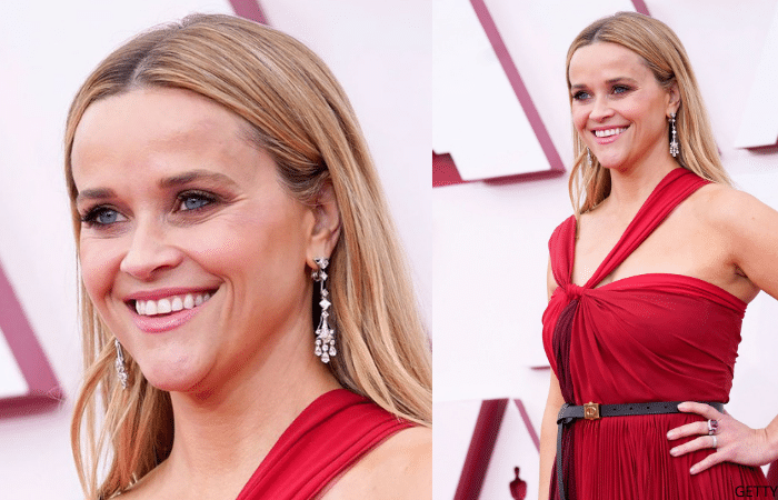 Reese Witherspoon wearing diamond pendant earrings at the 2021 Oscars