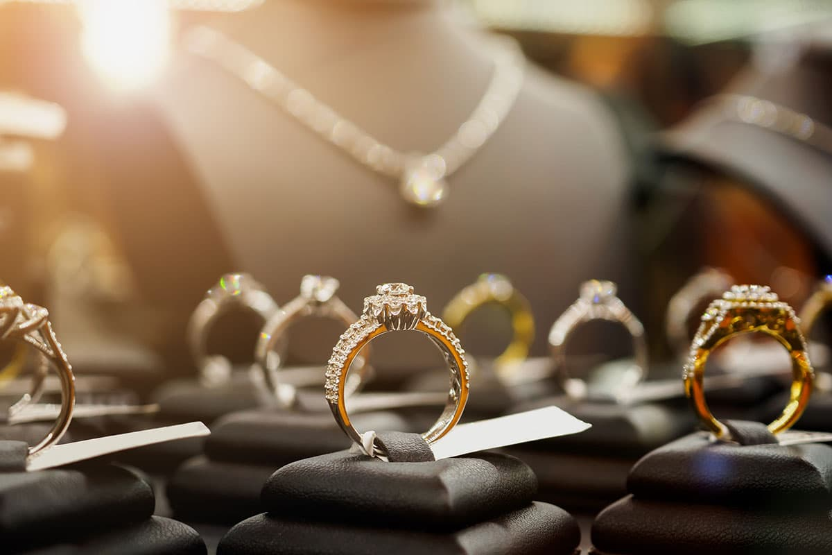 Engagement rings on display in jewelry store