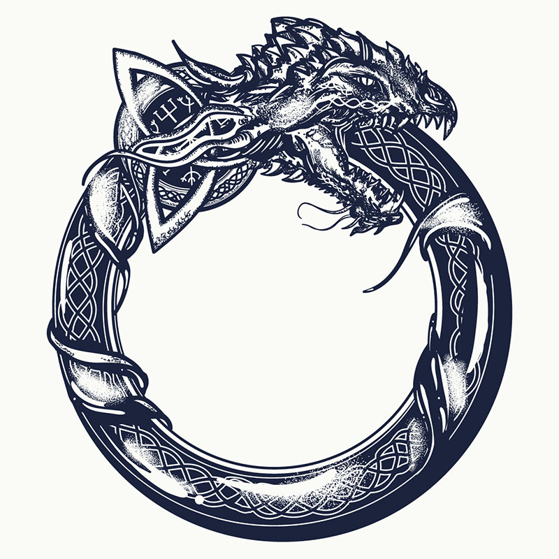 Ouroboros - Serpent eating its own tail in the shape of a ring