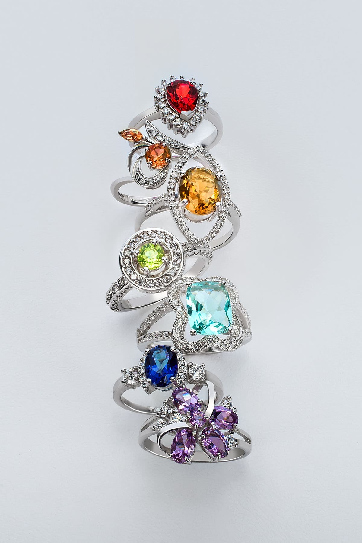 Rings is a range of different colored gemstones