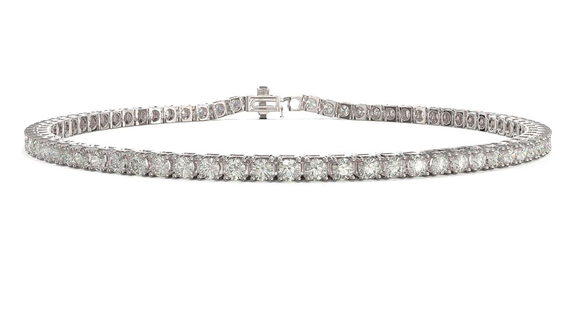 A classic timeless white gold prong set diamond tennis bracelet