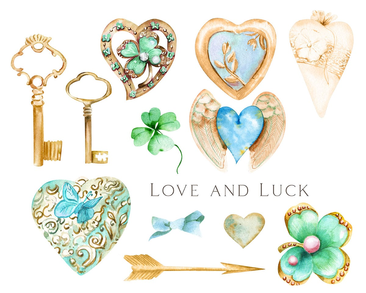 A rendering of symbols of love, luck and protection from antique jewelry